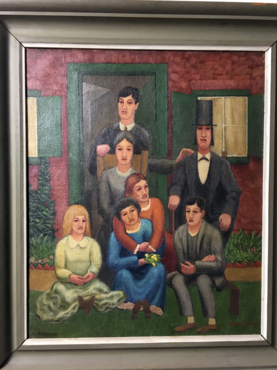 Horace Brodzky The Anniversary Group Painting Signed 1925