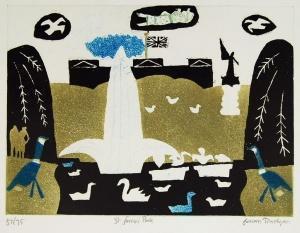 Julian Trevelyan St James Park 1969 Pencil Signed Art Etching Surreal Landscape