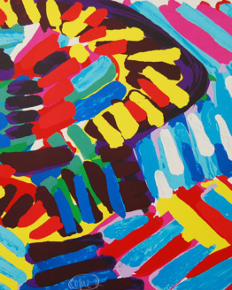 Karel Appel Face in the Colorful Rain Pencil Signed Abstract Art 1980