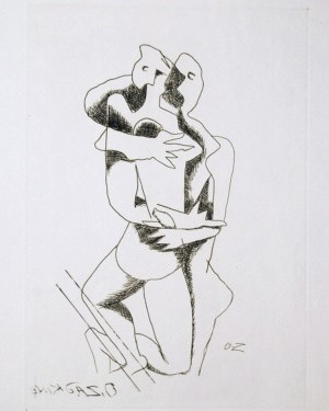 Ossip Zadkine Abstract Art Etching The Lovers 1960 Plate Signed