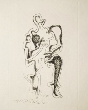 Ossip Zadkine Abstract Art Etching Mother and Child 1960 Plate Signed
