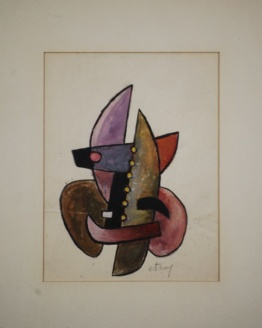Sorel Etrog - Study for Painted Constructions 1958 - Original Watercolor