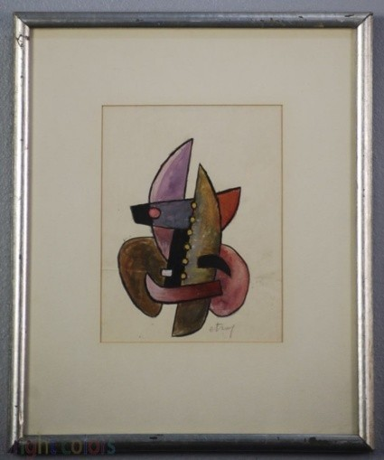 Sorel Etrog - Study for Painted Constructions 1958 - Original Watercolor