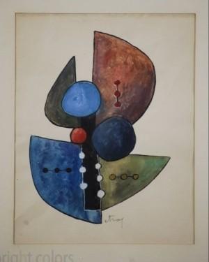 Sorel Etrog - Study for Painted Constructions 1958 - Original Watercolor (II)
