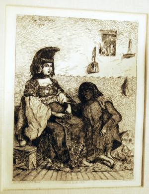 Eugène Delacroix (1798-1863) Juive D'Alger - Algerian Jewess - Original Etching