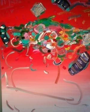 Peter Max, Flower Hat, Original Painting,