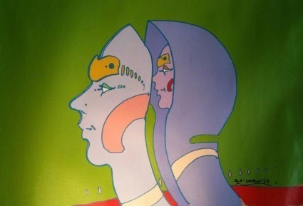 Peter Max, Head In Head, 1972, Original Acrylic Painting