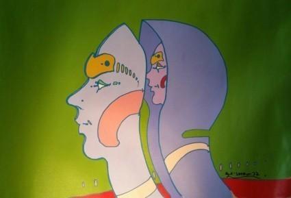 Peter Max, Head In Head, 1972, Original Acrylic Painting